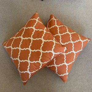 2 Modern Soft Orange Pillows